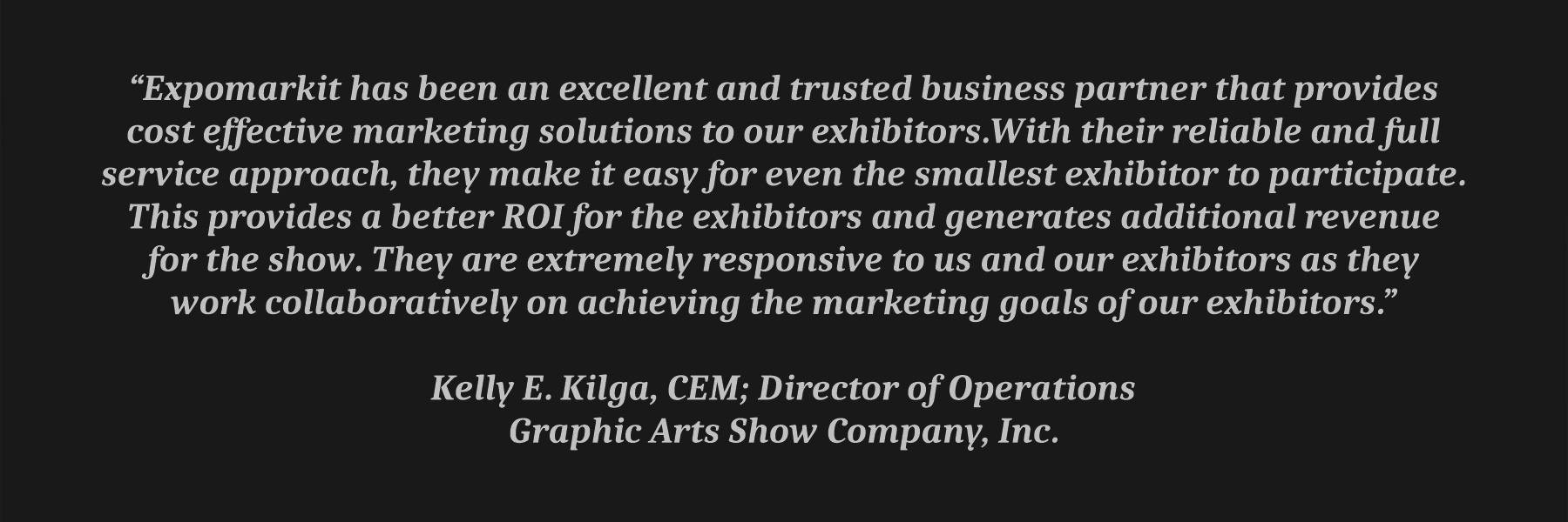 Graphic Arts Show Testimonial
